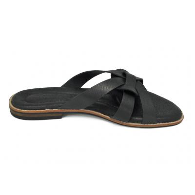 รองเท้าแตะส้นเตี้ย LS-12 หนังแพะปั่นนิ่มดำ