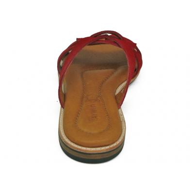 รองเท้าแตะส้นเตี้ย LS-12 หนังกลับแดง