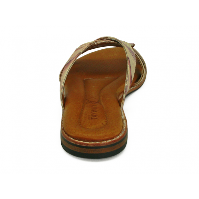 รองเท้าแตะส้นเตี้ย LS-12 หนังPUลายงูชมพู