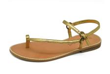 รองเท้าแตะส้นเตี้ย SC-12 หนังยับลายทอง
