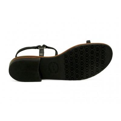รองเท้าแตะส้นเตี้ย SC-12A หนังนิ่มดำ