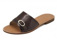 ลด 50% รองเท้าแตะส้นเตี้ย SC-63 หนังงูตาล-นิ่มตาลแก่