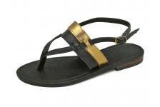 รองเท้าแตะส้นเตี้ย SC-65 หนังนิ่มดำ-ยับลายทอง