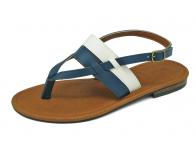 ลด 50% รองเท้าแตะส้นเตี้ย SC-65 หนังนิ่มน้ำเงิน-นิ่มขาว