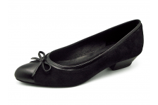 Women Courts Middle Heel SJ-59 Black Nappa-Black Suede