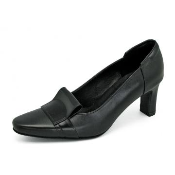 รองเท้าคัทชู SJ-76 หนังนิ่มดำ-หนังแกะแก้วดำ