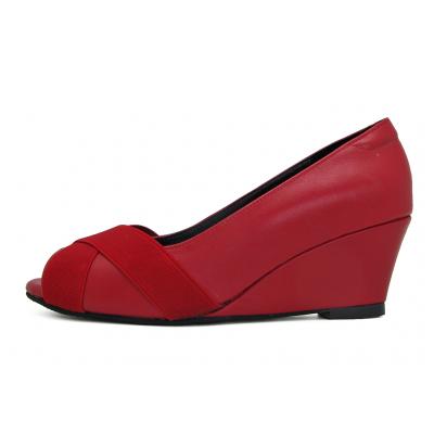 รองเท้าคัทชู SJ-77 หนังนิ่มแดง