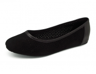ลด 50% รองเท้าคัทชูส้นเตี้ย SJ-78 หนังกลับดำฉลุลาย-นิ่มดำ