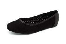 รองเท้าคัทชูส้นเตี้ย SJ-78 หนังกลับดำฉลุลาย-นิ่มดำ
