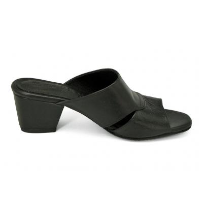 รองเท้าแตะ SJ-80 หนังลายนกกระจอกเทศดำ-นิ่มดำ