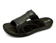 รองเท้าแตะ SKA-17 หนังลายลิ้นจี่ดำสลับ