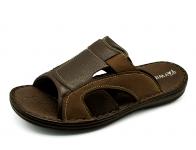 รองเท้าแตะ SKA-17 หนังลายลิ้นจี่ตาล-นูบักตาล-ผ้าดำ