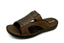 Men Sandals SKA-17 Brown Embossed Nubuck-Black Fabric