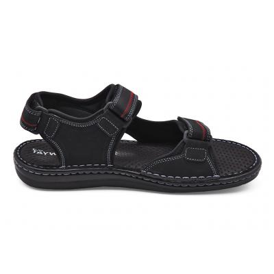 รองเท้าแตะ SKA-19 หนังนูบักออยล์ดำ-ตาข่ายเทา
