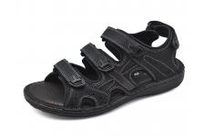 รองเท้าแตะ SKA-24 หนังนูบักออยล์ดำ-หนังลายลิ้นจี่ตาล
