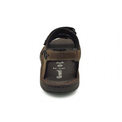 รองเท้าแตะ SKA-24 หนังนูบักออยล์ตาล-หนังลายลิ้นจี่แทน