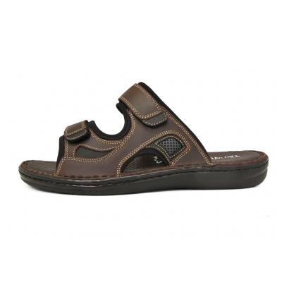 รองเท้าแตะ SKA-25 หนังนูบักออยล์ตาล-นูบักออยล์ดำ-ตาข่ายเทา