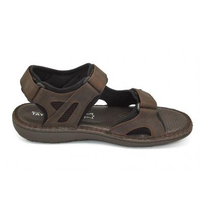 รองเท้าแตะ SKA-27 หนังนูบักออยล์ตาล-นูบักออยล์ดำ-ตาข่ายตาล