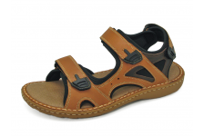 รองเท้าแตะ SKA-27 หนังนูบักออยล์แทน-นูบักออยล์ตาล-ตาข่ายดำ