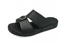 รองเท้าแตะ SKC-05 หนังปั๊มลายนอกกระจอกเทศดำ