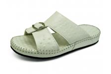 รองเท้าแตะ SKC-05 หนังปั๊มลายนอกกระจอกเทศขาว