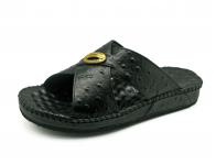 ลด 50% รองเท้าแตะ SKC-08 หนังปั๊มลายนอกกระจอกเทศสีดำ