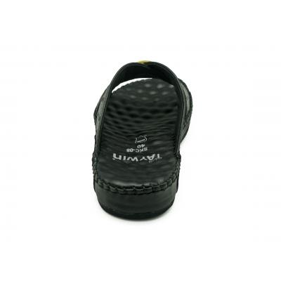รองเท้าแตะ SKC-08 หนังปั๊มลายนอกกระจอกเทศสีดำ