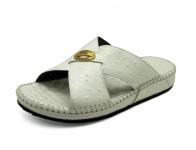 ลด 50% รองเท้าแตะ SKC-08 หนังปั๊มลายนอกกระจอกเทศขาว