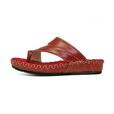 รองเท้าแตะส้นเตี้ย SKC-10 หนังCCOแดง