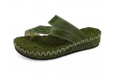 รองเท้าแตะส้นเตี้ย SKC-10 หนังCCOเขียวขี้ม้า