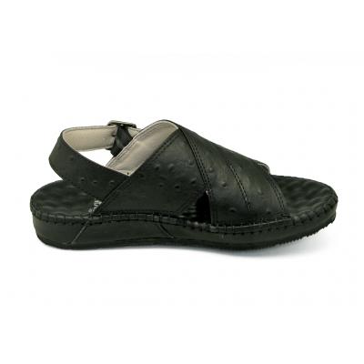 รองเท้าแตะ SKC-11 หนังปั๊มลายนอกกระจอกเทศดำ