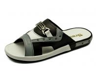รองเท้าแตะ SKF-07 หนังนิ่มเทาอ่อน-ขาว-ดำ