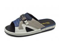 รองเท้าแตะ SKF-09 หนังนิ่มขาว-ฟ้า-กลับเทา-ผ้ากรมท่า
