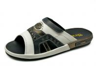รองเท้าแตะ SKF-11 หนังนิ่มขาว-กรมท่า-เมทัลลิคพิวเตอร์