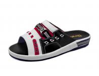 รองเท้าแตะ SKF-12 หนังปั่นนิ่มขาว-กลับแดง-นิ่มดำ