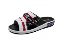Men Sandals SKF-12 White Corrected Grain Leather-Red Suede-Black Nappa