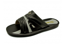 Men Sandals SKF-14 Black Nappa-Black Patent Synthetic Leather-Light Gray Nappa