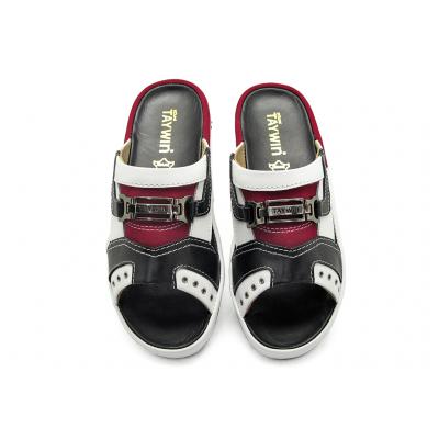 รองเท้าแตะ SKF-16 หนังนิ่มดำ-ขาว-กลับแดง