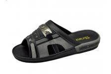 รองเท้าแตะ SKF-17 หนังนิ่มดำ-กลับเทา-ผ้าตาข่ายเทาแก่