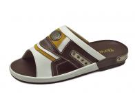 รองเท้าแตะ SKF-18 หนังนิ่มขาว-นิ่มน้ำตาล-กลับเหลือง-ตาข่ายครีม