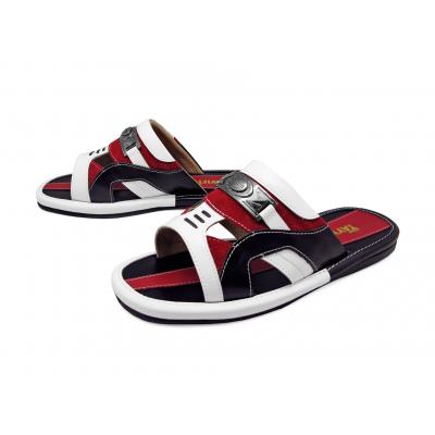 รองเท้าแตะ SKF-21 หนังนิ่มขาว-นิ่มดำ-กลับแดง