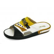 ลด 50% รองเท้าแตะ SKF-23 หนังนิ่มดำ-ขาว-กลับเหลือง-ผ้าแคนวาสเหลือง