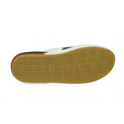 รองเท้าแตะ SKF-23 หนังนิ่มส้ม-ขาว-กลับเขียวเข้ม