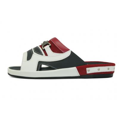 รองเท้าแตะ SKF-25 หนังนิ่มขาว-นิ่มดำ-กลับแดง-นิ่มแดง