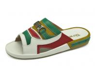 รองเท้าแตะ SKF-25 หนังนิ่มขาว-เขียวอ่อน-แดง-กลับเหลือง