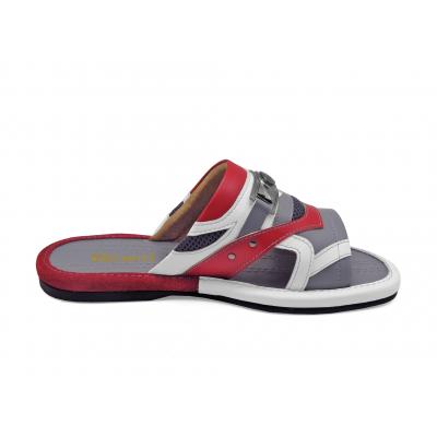 รองเท้าแตะ SKF-28 หนังนิ่มเทาอ่อน-แดง-ปั่นนิ่มขาว