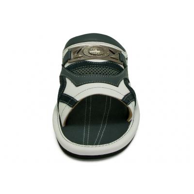 รองเท้าแตะ SKF-28 หนังปั่นนิ่มขาว-นิ่มกรมท่า-กลับกรมท่า