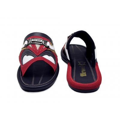 รองเท้าแตะ SKF-29 หนังกลับแดง-ปั่นนิ่มขาว-นิ่มดำสลับ