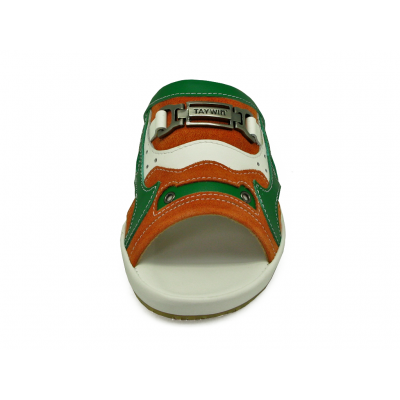 รองเท้าแตะ SKF-30 หนังกลับส้ม-นิ่มเขียวอ่อน-นิ่มขาว
