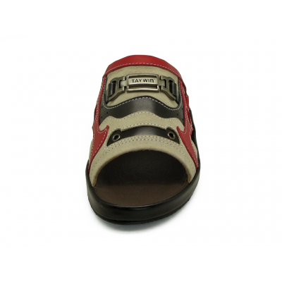รองเท้าแตะ SKF-30 หนังกลับครีม-นิ่มดำ-นิ่มแดง